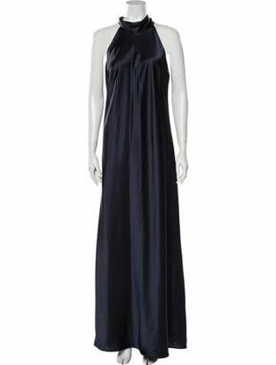 Galvan Mock Neck Long Dress Blue