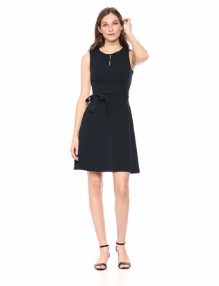 Lark & Ro Amazon Brand Women's Sleeveless Crew Neck Belted A-Line Dress with Pockets
