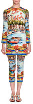 Dolce & Gabbana Sorrento 3/4-Sleeve Tunic Dress, Yellow/Blue/Multi