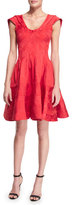 Zac Posen Sleeveless Scoop-Neck Party Dress, Ruby