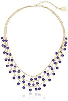"""Anne Klein Beacon"""" Gold-Tone and Blue Three Row Shaky Frontal Necklace, 17.5"""" + 3"""" Extender"""