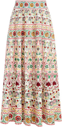 Alice + Olivia Earla Embroidered Midi Skirt