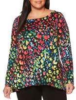 Rafaella Plus Printed Long Sleeve Top