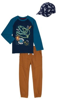 365 Kids From Garanimals Boys Dino Long Sleeve T-Shirt, Woven Jogger Pants, & Hat, 3-Piece Outfit Set, Sizes 4-10