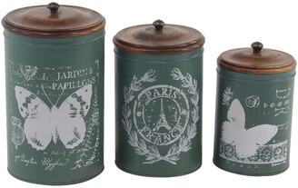 Uma Enterprises Set Of 3 Tin Canisters
