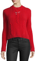 Thierry Mugler Cable-Knit Sweater w/Metallic Bar Details, Red