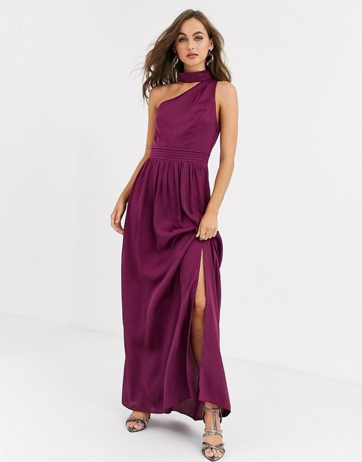 Little Mistress satin maxi dress in mulberry