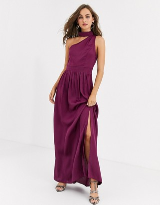Little Mistress satin maxi dress in mulberry