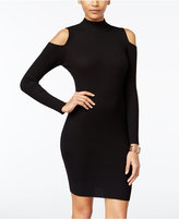 Say What ? Juniors' Cold-Shoulder Rib-Knit Sweater Bodycon Dress