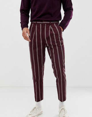 Asos Design DESIGN smart tapered trousers in burgundy with pin stripe