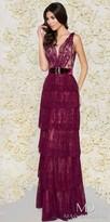 Mac Duggal Velvet Waist Tiered Lace Plunging Back Evening Dress