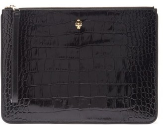 Alexander McQueen Skull Crocodile-effect Leather Zipped Pouch - Black