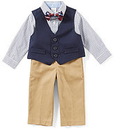 Starting Out Baby Boys 3-24 Months Checked Button-Front Shirt, Vest, Flat-Front Pants, & Bow Tie Set