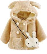DD-CM Baby Girls' Rabbit Hooded Long Sleeve Outerwear Winter Fleece Jacket Coat