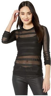 BCBGMAXAZRIA Sheer Stripe Knit Top (Black) Women's Blouse