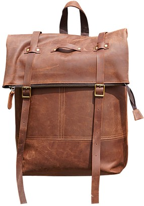 Touri 16 inch Straps Detail Genuine Leather Backpack In Russet Brown