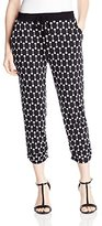 NY Collection Women's Petite Drawstring Printed Pant with Ruching At Hem