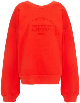 Victoria Victoria Beckham Embroidered French Cotton-terry Sweatshirt