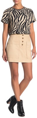 Naked Zebra Pocketed Faux Suede Mini Skirt