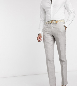 Twisted Tailor TALL slim linen suit pants in stone