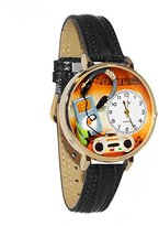 Whimsical Watches Women's G0510016 Unisex Gold Music Lover Black Leather And Goldtone Watch