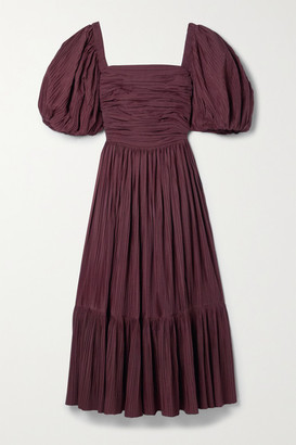 Sea Nadja Tiered Plisse-taffeta Midi Dress - Burgundy