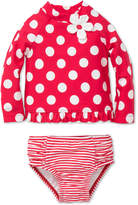 Little Me 2-Pc. Dot-Print Rash Guard Set, Baby Girls
