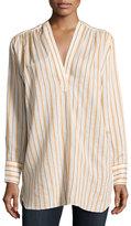 Helmut Lang Striped Long-Sleeve Tunic, White/Orange