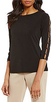 Investments Ivestments Petites 3/4 Button Sleeve Top