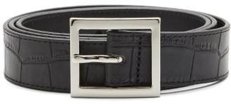 Amiri Crocodile-embossed Leather Belt - Black