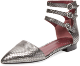 Marc by Marc Jacobs Women's Minetta 3 Embossed Leather Ankle Strap Flat