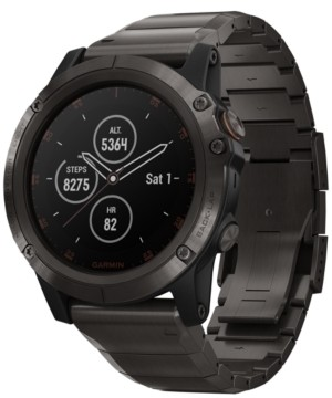 Garmin Unisex fenix 5x Plus Gray Silicone Strap Smart Watch 51mm