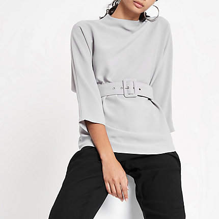 River Island Womens Grey loose fit cuffed hem belted top