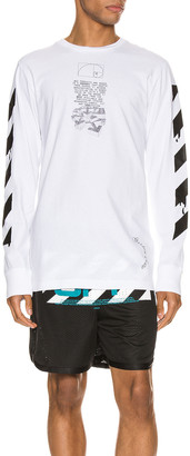 Off-White Dripping Arrows Long Sleeve Tee in White & Black | FWRD