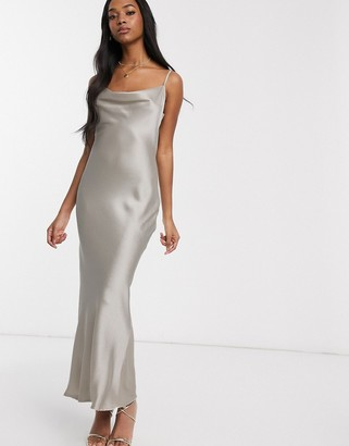 Pretty Lavish maxi cami dress in satin with cowl