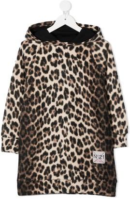 No21 Kids Leopard-Print Hoodie Dress