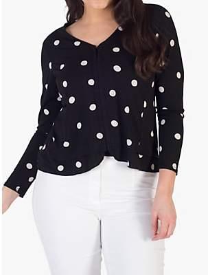 chesca Jersey V-Neck Frill Hem Spot Jersey Jacket, Black/Ivory