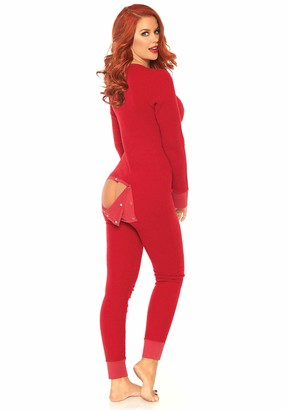 Leg Avenue Women's Cozy Brushed Rib Long Johns with Cheeky Snap Closure Back Flap