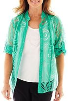 Alfred Dunner Beekman Place Layered Burnout Shirt with Necklace