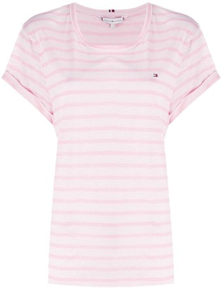 Tommy Hilfiger embroidered logo striped T-shirt