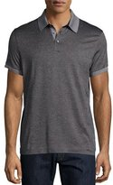 HUGO BOSS Short-Sleeve Contrast-Trim Pique Polo Shirt, Charcoal