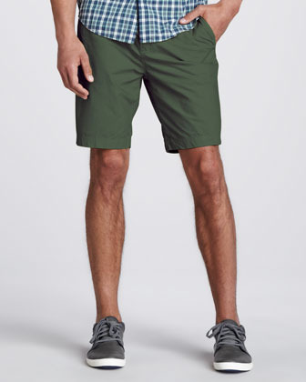 Burberry Washed Twill Flat-Front Shorts