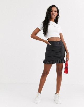 Asos DESIGN leather look ruched mini skirt with frill hem