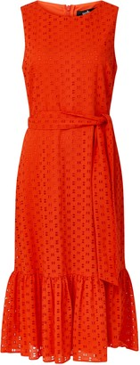 Wallis Red Embroidery Lace Midi Dress