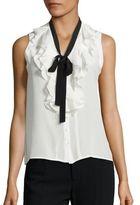 Nanette Lepore Domino Silk Tie-Neck Blouse