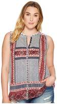 Lucky Brand Plus Size Border Print Button Up Shell