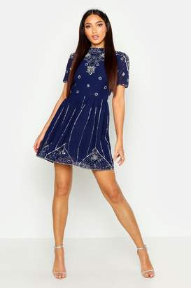 boohoo High Neck Embellished Midi Dress