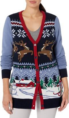 Ugly Christmas Sweater Women's Santa Sled Cardigan