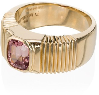 Retrouvaí 14K yellow gold and pink ribbed sapphire ring