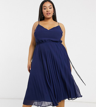 ASOS DESIGN Curve pleated cami midi dress with drawstring waist in navy